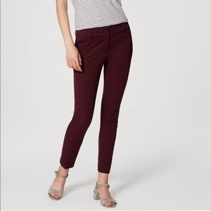 NWT! Ann Taylor Marisa Fit Pants in Wine - 0P